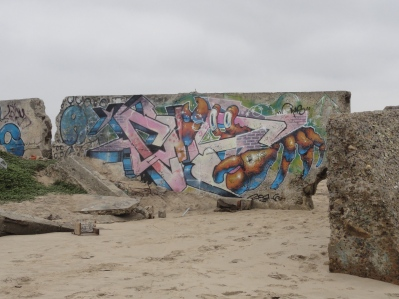graffiti along the beach
